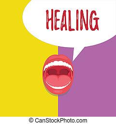 son, encore, concept, mot, business, processus, texte, devenir, écriture, healing., sain, portion, blessé, confection, ou
