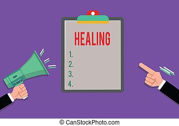 son, encore, ou, business, processus, photo, projection, écriture, portion, sain, blessé, main, showcasing, confection, conceptuel, healing., devenir
