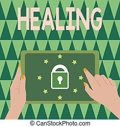 son, encore, ou, processus, texte, projection, signe, portion, sain, blessé, photo, conceptuel, confection, healing., devenir