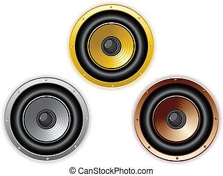 son, ensemble, 3, isolé, couleurs, rond, speaker.