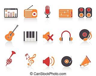 son, ensemble, icônes, couleur, série, équipement, musique, orange, rouges