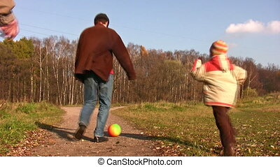 son, father and grandfather play football