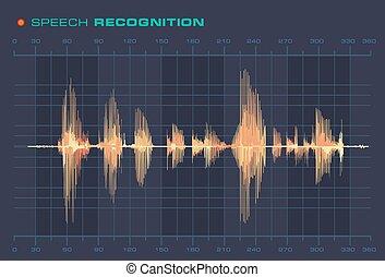 son, formulaire, signal, vague, diagramme, parole, reconnaissance