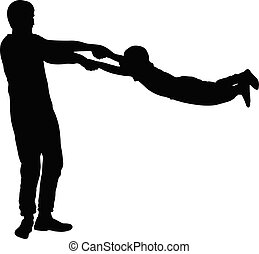 (son), garçon, (father), virages, silhouette, vecteur, (circles), homme