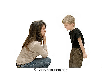Son having a tantrum whilst mother gets angry.