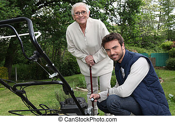 Son helping Mother in the garden