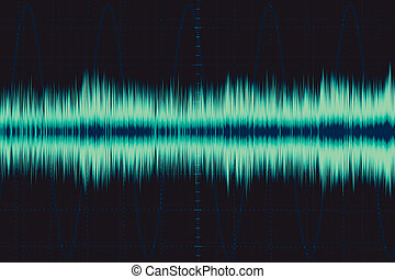 son, illustration., oscilloscope, wave., signal, forme onde,...