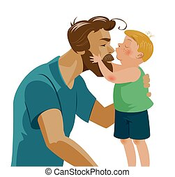 Son kissing his dad and kisses on the nose. Love and ...