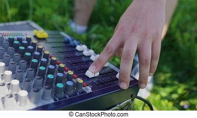 son, mélange, ajuste, console, opérateur