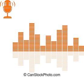 son, microphone, audio, dessiner