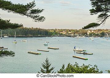 son, nord-est, port, somes, bateaux, maine