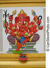 Son of Siva - Ganesh statues in various postures in...