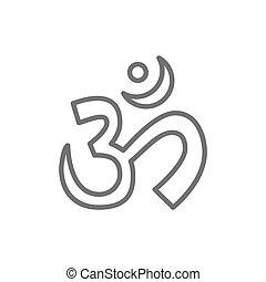 son, om, ou, aum, symbole, mantra, indien, sacré, icon., ligne