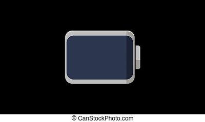 son, plat, style, graphique, batterie, animation., vague, mouvement, numérique, charger, compensateur, icône