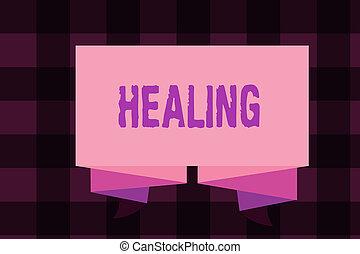 son, portion, note, business, encore, processus, photo, projection, ou, écriture, healing., sain, blessé, showcasing, confection, devenir