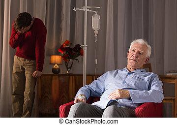 Son preparing for father's death