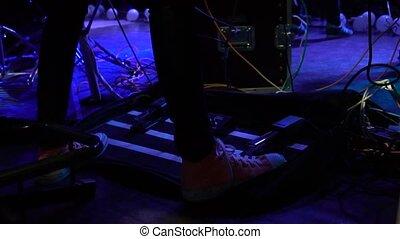 son, sien, poussées, musicien, amplificateur, guitare, pied