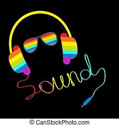 son, sunglasses., card., corde, arc-en-ciel, écouteurs, mot, musique, forme