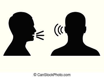 son, symbole, parler, icône, voix, ou, écouter