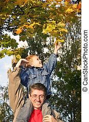 son take autumn leaf