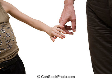 Son touch father\'s hand