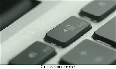 son, tourner, ordinateur portable, haut, clavier, utilisation