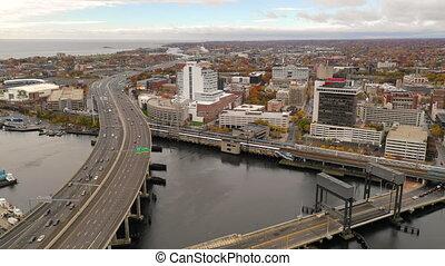 son, ville, bridgeport, île, connecticut, long, en ville,...