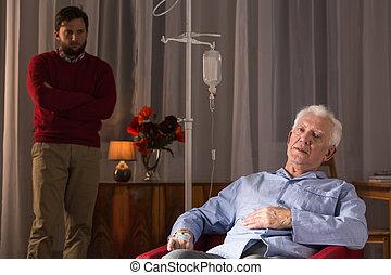 Son visiting senior father