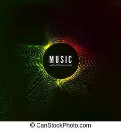son, visualization., couleur, résumé, flow., illustration, vague, arrière-plan., vecteur, musique, audio, structure, circulaire