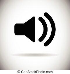 son, volume, porte voix, musique, icône