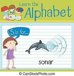 sonar, flashcard, s, lettre