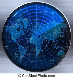 sonar, mapa světa, nebo, radar