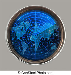 sonar, planisphère, ou, radar