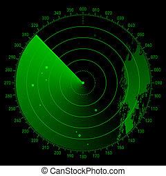 Sonar scope - Vector illustration of a radar screen with...