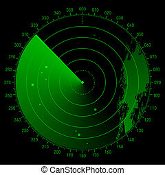 Vector illustration of a radar screen with land and objects