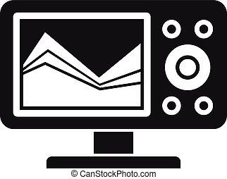 sonar, stile, icona, eco, semplice, sounder