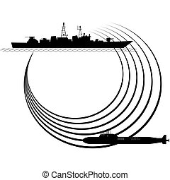 Sonar - The contour of the warship and submarine. The ...