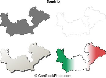 Sondrio blank detailed outline map set - Sondrio province...
