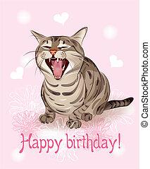 song., שר, רקע, ורוד, מצחיק, לבבות, דש, חתול, שמח, card., יום הולדת, flowers.