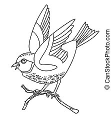 Vector line art monochrome song bird sitting on branch. Black contour illustration isolated on white background. Stock illustration for coloring book, design, print, t-shirt, home decor.