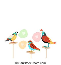 Song birds with speech bubbles