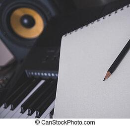song., conceito, sheet., compondo, caneta, teclado, piano