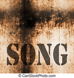 song music word, old rusty wall