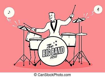 song., nota musical, jogador, baterista, retro, music., tocando, caricatura