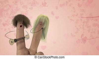 song., struppig, liebe, valentines, joke., haar, finger, singen, tag, mann