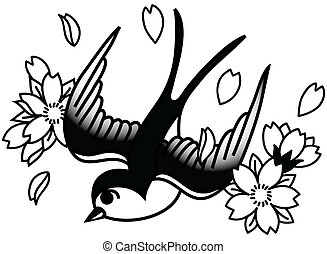A tattoo-style drawing of a bird and cherry blossoms.