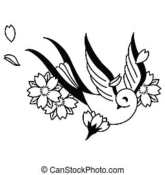 Songbird and cherry blossoms tattoo design elements