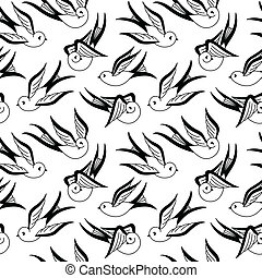A seamless pattern of flying birds