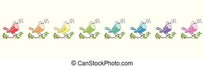 Songbirds Rainbow Colored Singing Choir - Songbirds in a row...