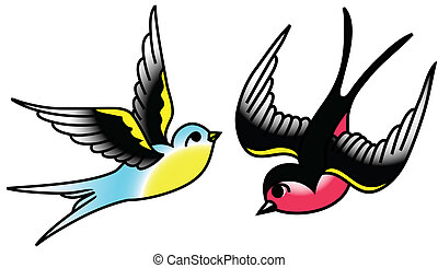 Songbirds - Tattoo-style drawing of birds.